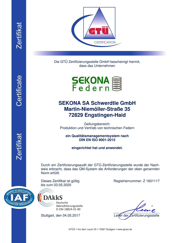 DIN ISO 9001 Zertifikat