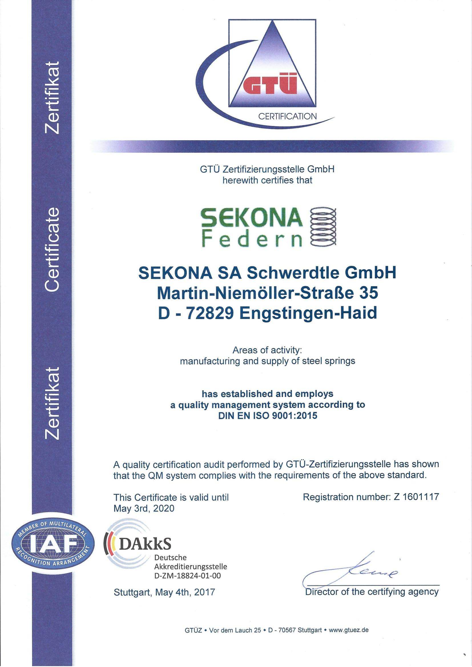 DIN EN ISO 9001 Zertifikat Englisch