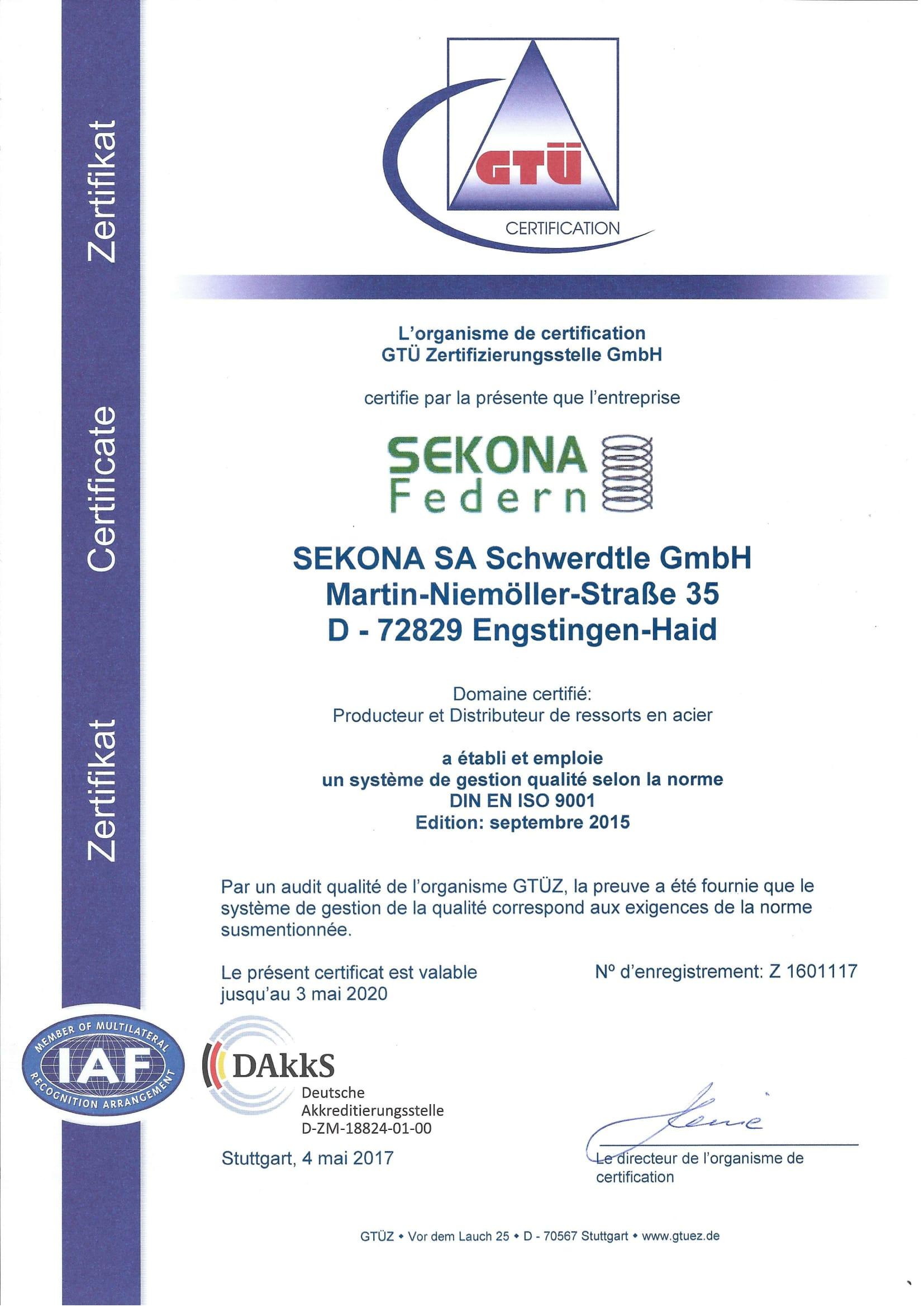 DIN EN ISO 9001 Zertifikat Französisch